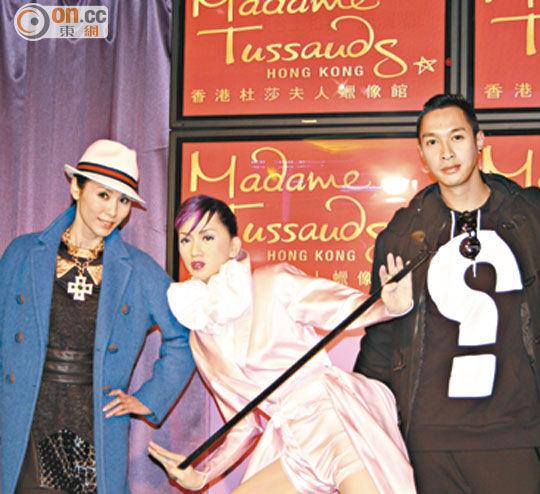郭可盈(左)与彭敬慈(右 )出席梅艳芳蜡像新造型揭幕仪式
