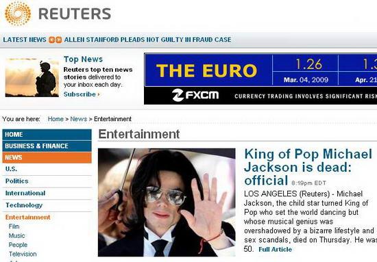 图文:各大媒体报道杰克逊逝世--路透社