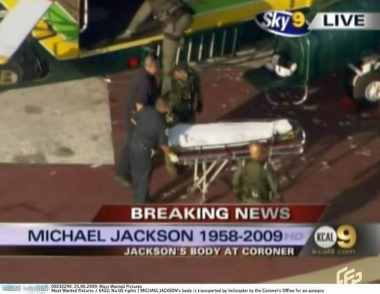 杰克逊遗体由直升机运走送往验尸所(组图)