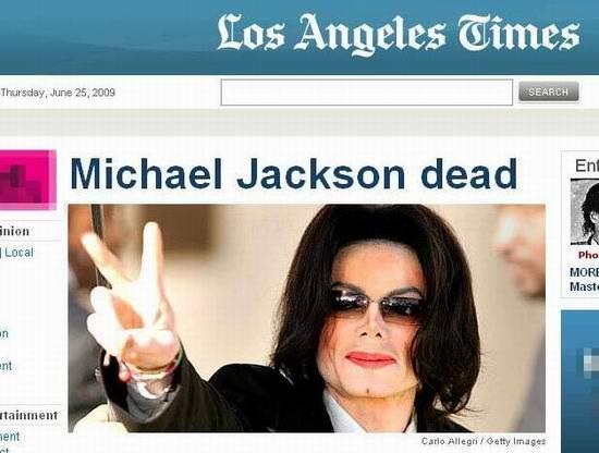 图文:各大媒体报道杰克逊逝世--洛杉矶时报