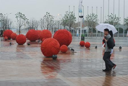 世博园毛线球雕塑