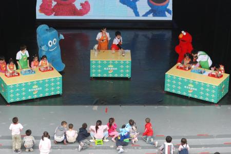 """上海世博园船坞剧场,小朋友可以参与""""魔法地图探险"""",了解科学常识。"""