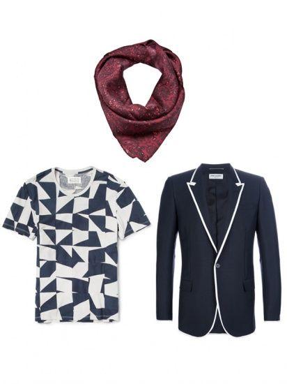我们需要的装备是:暗红色丝质印花领巾,蓝白几何图案短袖T恤,深蓝色休闲西装。