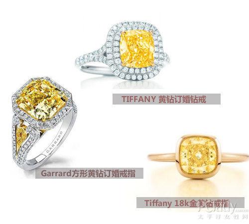 Garrard 方形黄钻订婚戒指