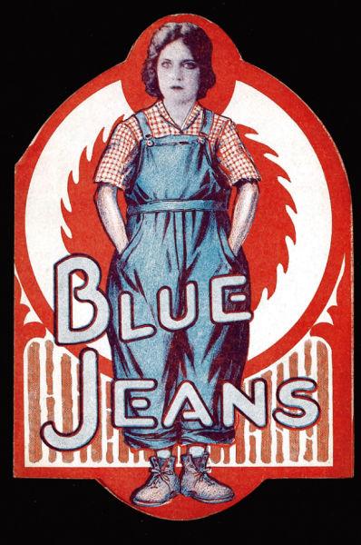 默片时代的女星薇奥拉・达娜(Viola Dana) 在1917年展示丹宁工装裤,但直到许多年后, 美国女性才将其当作日常穿着。