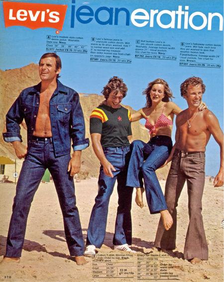 20世纪70年代,英国的李维斯广告展现了当时喇叭牛 仔裤的流行。