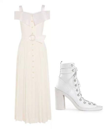 ▲ 白色连衣裙Alessandra Rich$3,110 绑带高跟鞋AnnDemeulemeester$1,049