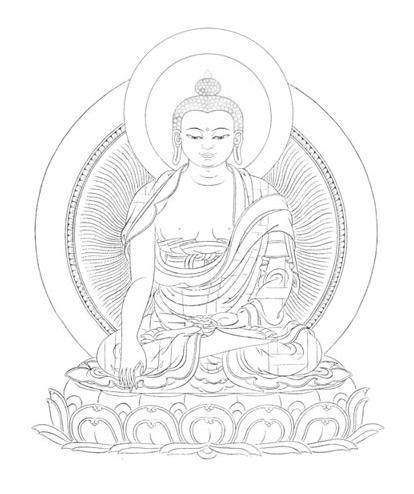 唐卡白描图中的释迦牟尼佛度量图