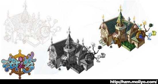 游戏欧式建筑原画
