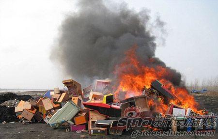 焚毁赌博游戏机
