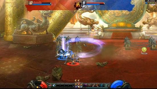 剑侠玩家倒地后向下起身躲闪影战职业的连击操作