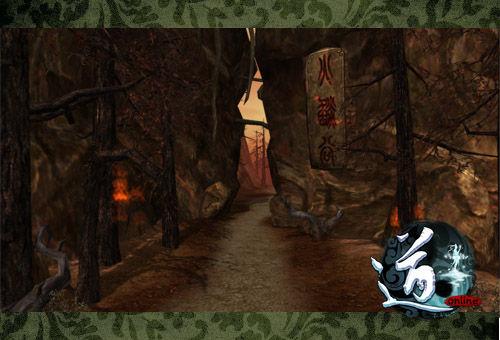 神秘的神火谷景色,荒芜的树木,赤色的天空,不知在此处修行的究竟是神还是魔?