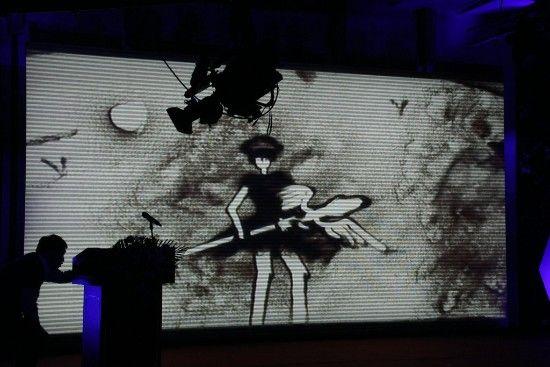 网络文化盛典开场创意沙画表演