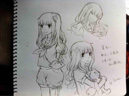 手绘q版女孩铅笔画