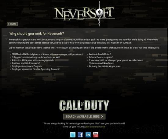 """但Neversoft官网应该不会骗人吧,其招聘页面下方显示着""""Call of Duty""""的图标。"""