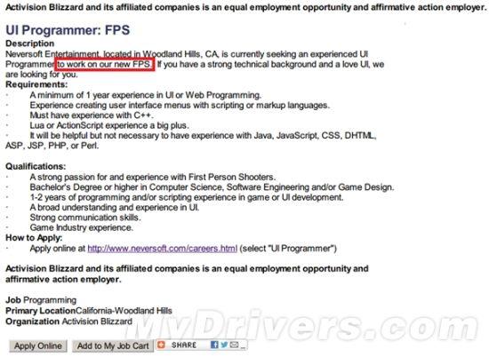 """点击进入招聘区后,我们可以看到大量和""""FPS""""(第一人称射击)相关的职位招聘"""