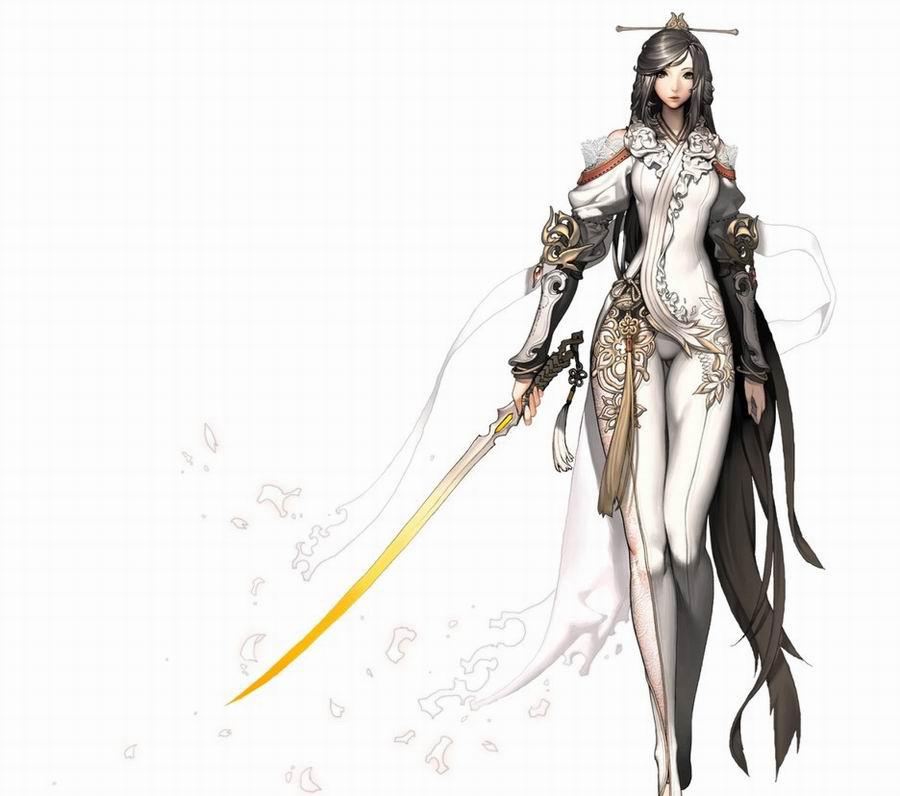 剑灵白衣飘飘npc飞月 气质美女绝色cos
