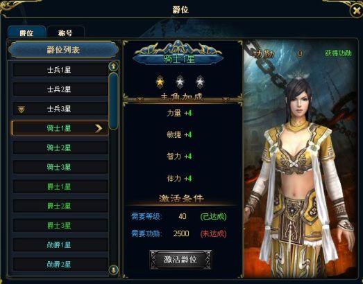 不同的爵位对玩家角色有着不同的属性加成。