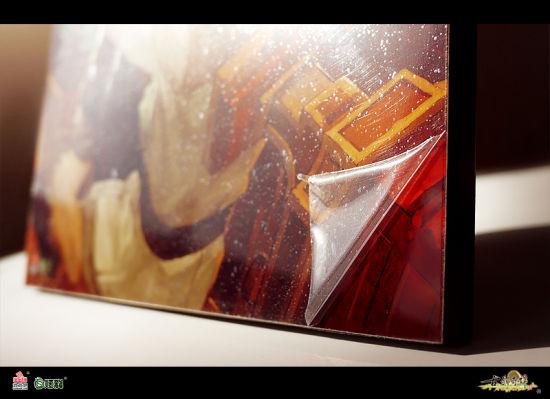 水晶版画外覆透明护膜,保护版画画面
