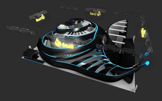 """蜗牛""""造型展馆,流线设计的现代感,炫酷的灯光组合,钢结构的金属质感让"""