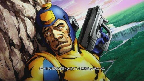 《街霸X铁拳》中出现的初代美版的大叔造型洛克人