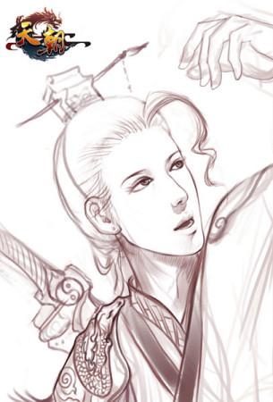 美女玩家手绘《天朝》铅笔风职业图