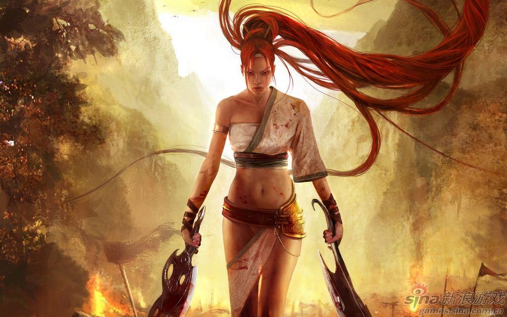 游戏里的性感红发美女