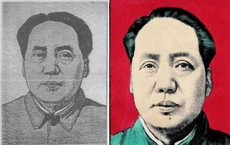 左:王式廓,毛主席像,1942年; 右:上色版本