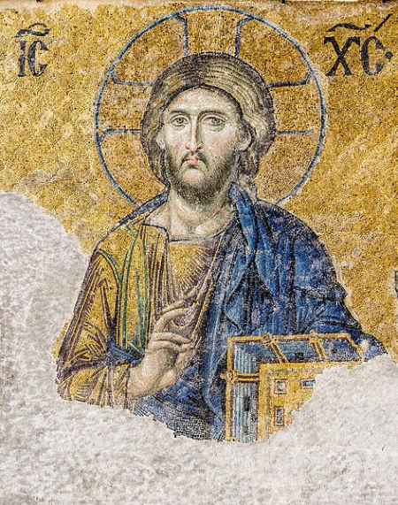 东正教圣索非亚大教堂中马赛克镶嵌画的耶稣像.-君士坦丁堡陷落 最