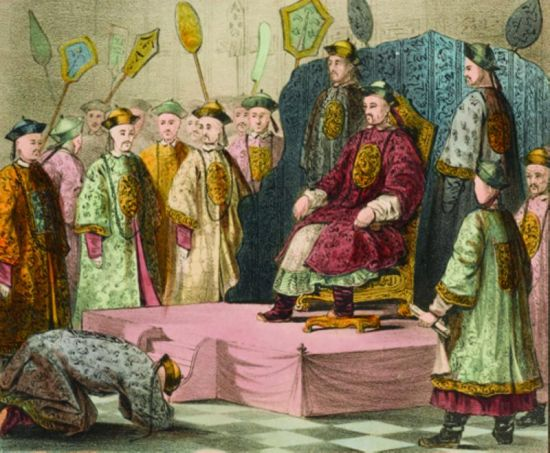 君主专制:这是英国画家威廉·亚历山大的作品,描绘18世纪末,乾隆皇帝