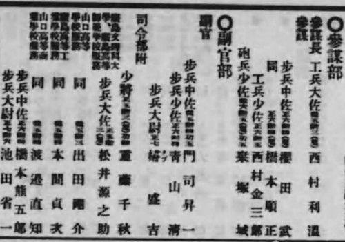 图2:第五师团司令部参谋部名单