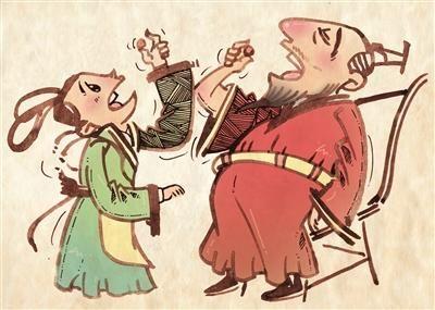 """皇帝和皇后一起""""吸毒""""。张叶 绘"""