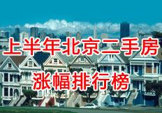 上半年北京二手房涨幅排行榜