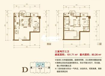 图为项目101平米三室两厅三卫户型图