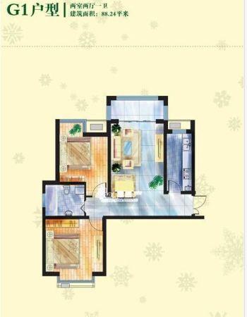 图为百合尚城2居室户型图-廊坊百合尚城低总价低首付朝阳户型点评