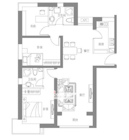 图为中建国际港120平三室二厅二卫户型图