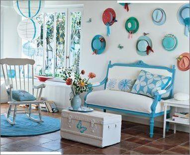 蓝绿色地中海装修 夏季清凉家居效果图(3)