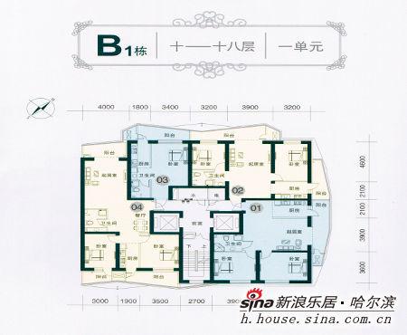 图为b1栋10-18层的户型,两梯四户.