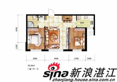 61平米两室两厅一卫; 70平米小户型平面图;