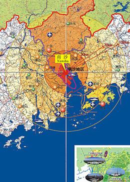 图二:南沙在珠三角的战略位置