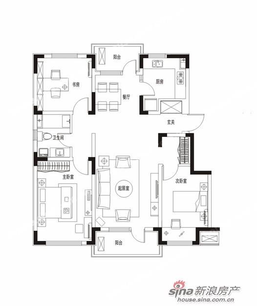 三居室 86-90平米   万科魅力之城二期  户型图  3室2厅2卫1厨  117