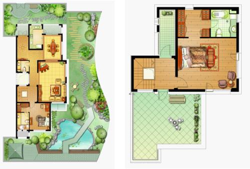 左为一层大花园 右为三层套房,超大露台