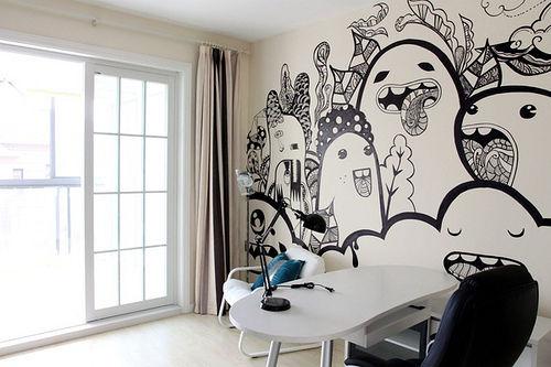 咖啡小姐的手绘墙