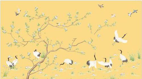 仙鹤梅花图手绘壁纸