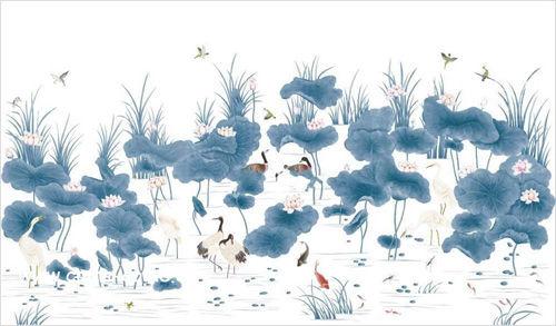 仙鹤莲花图手绘壁纸
