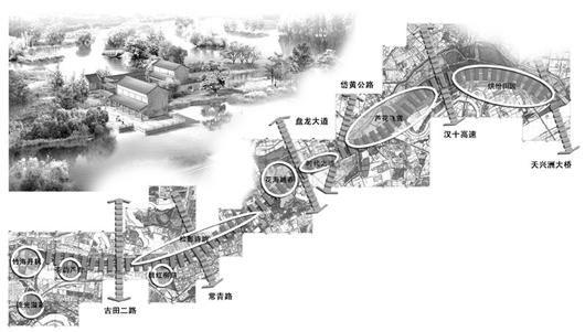 街头园林水景手绘图