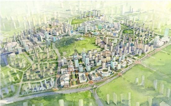 青岛新都心效果图; 市北新都心 刚需 商业 海尔时代广场;   青岛新都