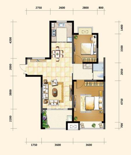 中电颐和家园95平米户型解析