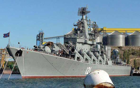 俄黑海舰队旗舰莫斯科号导弹巡洋舰