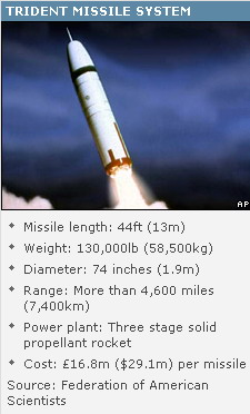 BBC website published on the Trident nuclear data, the missile has a range of up to 7400 km 。